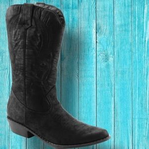 Classic Cowboy Black Embroidered Western Heel Boot